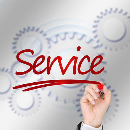 Service written in red by a hand with gears behind it.