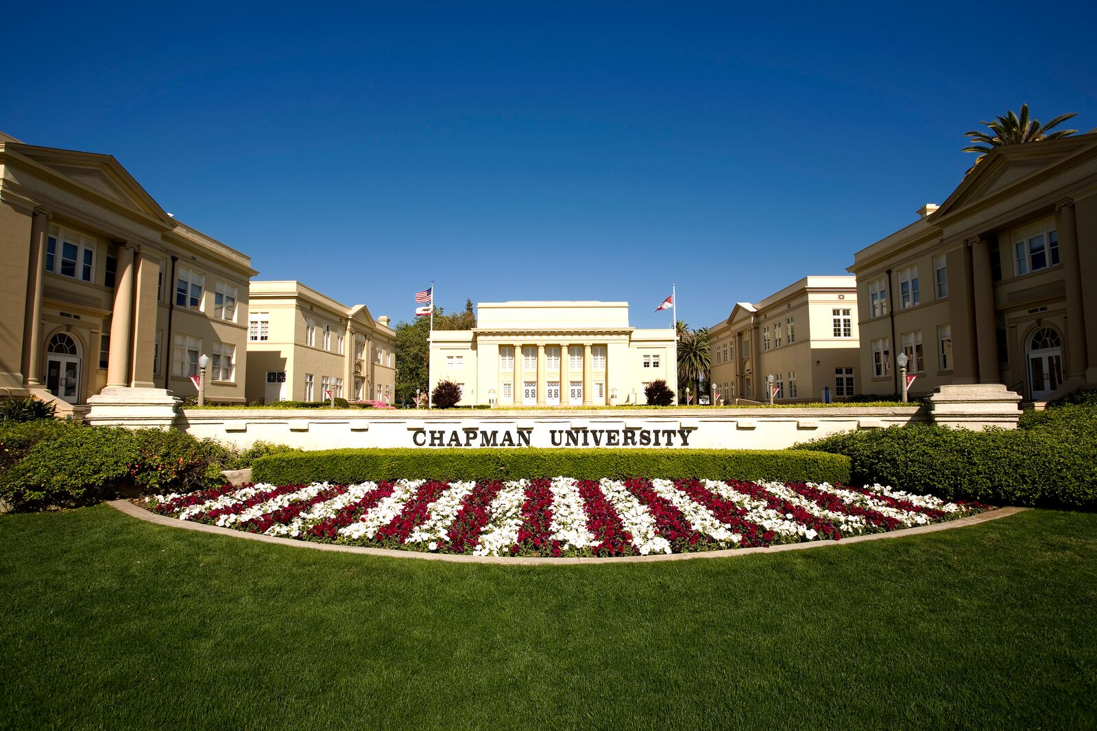 green campus with white and red flowers with Chapman University sign