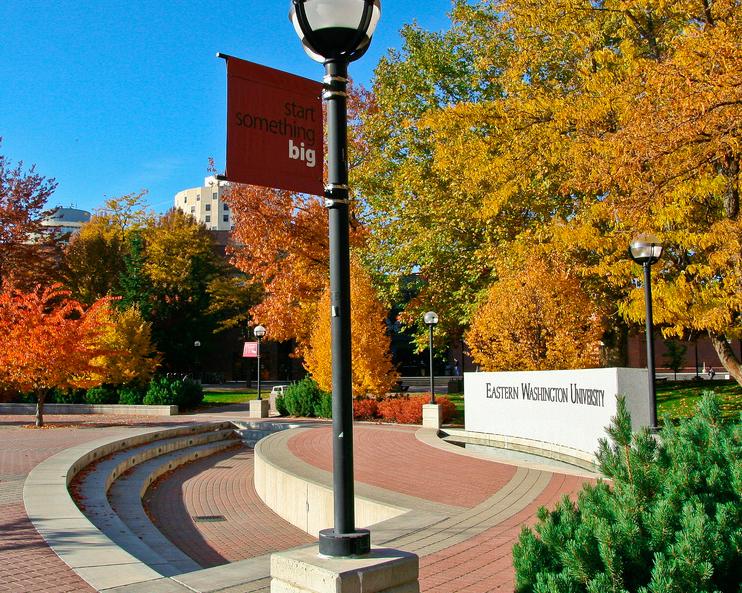 Fall foliage showing Eastern Washington University signage